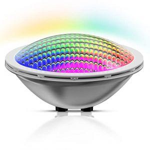 LyLmLe LED Piscine PAR56, 30W Projecteur Piscine Acier inoxydable Synchroniseur RGB Lampe,Multicolore Lampe de Piscine Submersible IP68 Etanche, AC 12V (Aucun contrôleur) (Raypole International, neuf)