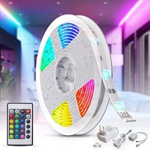 B.K.Licht ruban LED multicolore 5m, guirlande lumineuse dimmable avec télécommande, auto-adhésif, lumière décorative blanche et multicolore, éclairage intérieur, 24W, longueur 5m (B.K.Licht, neuf)