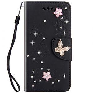 Felfy Compatible avec iPhone 6 Plus / 6S Plus Coque Portefeuille Luxe Glitter Strass Diamant 3D Papillon Housse à Rabat PU Cuir étui de Protection Magnétique Flip Case avec Fentes pour Cartes,Noir (Okssud, neuf)