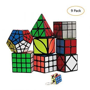YGZN Speed Cube Set 8 Pack 2x2 3x3 4x4 Speed Cube ,Megaminx Pyramid Skewb lvy Cube Mirror Cube Smooth Speedcubing Magic Cube Puzzle for Adults and Kids, for 3x3 Cube Keychain (9 Pack) (YGZN, neuf)