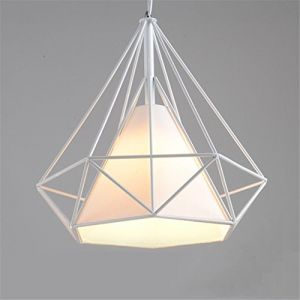 Tobaling Lustre Suspension E27 Cage en Fer Forme Diamant avec Douille Eclairage pour Décor Restaurant Salle Chambre (BLANC, S<25CM>) (Tobaling, neuf)