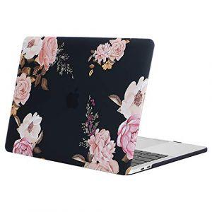 MOSISO Coque Compatible MacBook Pro 15 Pouces A1990 A1707 2019/2018/2017/2016 - Ultra Slim Coque Rigide Compatible Macbook Pro 15 Pouces Touch Bar et Touch ID, Pivoine sur Base Noire (Mosiso FR, neuf)