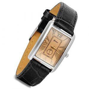 Montre Femme LANCARDO Montre Bracelet Quartz Cadran Chiffres Romains Rectangulaire Afficahge Analogique Bracelet en Cuir Bracelet Montre Femme Noir (Lancardo Watches, neuf)