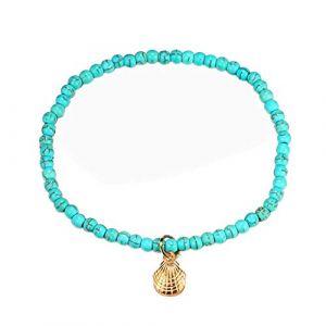 Vintage Bracelet de cheville,Nourich Bleu Perles Chaîne de cheville Corde Main réglable Perles Chaîne de Pieds coquillage Gland Pendentif Chaîne de pied Boho Sandales cheville (A) (Nourich, neuf)