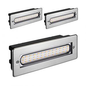 parlat LED luminaire d´escalier luminaire encastrable dans le mur pour l'extérieur angulaire 20x7cm 230V blanche-chaude, 3 pcs (LEDs Com GmbH, neuf)