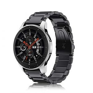 Fintie Bracelet pour Samsung Galaxy Watch 46mm SM-R800 / SM-R805, Gear S3 Frontier, Gear S3 Classic Smartwatch - Bracelet de montre en acier inoxydable Wristband Montre Strap Remplacement avec Métal Fermoir, Noir (Fintie EU, neuf)