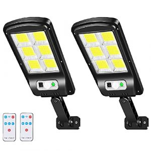 Lampe Solaire Extérieur, Lenlun 6000LM LED Réverbères Lumière Solaire Projecteur Détecteur de Mouvement 3 Modes IP67 étanche pour Jardin, Garage, Cour, Escalier, Patio (2-Pièce) (YuStar, neuf)