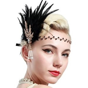 Babeyond Bandeau Plume Année 20 Gatsby Couronne Plume Accessoires Gatsby Flapper Bandeau des Année 1920 Serre-tête Vintage Classique Partie à Thème, Doré (BABEYOND FR, neuf)