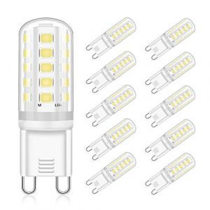 G9 LED Ampoule 5W Équivalent 30W 40W Halogène Blanc Froid 6000K, AC220-240V G9 LED Lampe, Non-Dimmable Pas de Scintillement Ampoule LED G9 Lampe, 360° Angle de Faisceau, Lot de 10, Eco.luma (Ledmart, neuf)