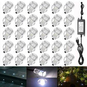 QACA Mini Eclairage pour Patio DC 12V Etanche IP67 Luminaires Extérieur pour Terrasse Enterré Plafonnier, LED Lampe Déco Pour Chemin Bassin Piscine (Lot de 30, Blanc froid) (SCQACA, neuf)