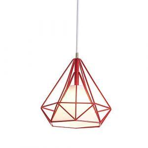 Lustre Suspension Industrielle Rétro Plafonnier en Fer Forme Diamant Abat-Jour Luminaire 25CM Multicolore (Rouge) (miracle life, neuf)