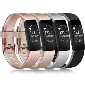 Amzpas Compatible pour Fitbit Inspire Bracelet & Fitbit Inspire HR Bracelet, Classique Bracelet Bande de Remplacement Compatible pour Fitbit Inspire HR (0003 Or Rose+Or+Argent+Noir, L) (SMXMY-CN, neuf)