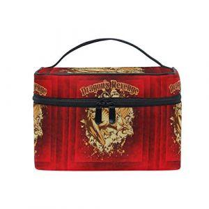 Crâne De Dragon Rouge Trousse Sac de Maquillage Toilette Cas Voyage Sac Organisateur Cosmétique Boîtes pour Les Femmes Filles (HULAHULA, neuf)