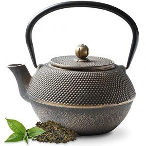 Tealøv THÉIÈRE Fonte 1,1 l - Théière en Fonte avec infuseur en Acier Inoxydable - Entièrement émaillée de l'intérieur - Prépare Une Tasse de thé Parfaite - Design Japonais à Picots Arare (Noir Or) (Cook & Dine, neuf)