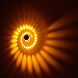 Coocnh Applique Murale Interieur LED Effet Moderne 3W Jaune en Aluminium Lampe de Mur Decorative Pour Chambre Enfant Couloir Hôtel Restaurant Cuisine Salle à Manger (Coocnh online, neuf)