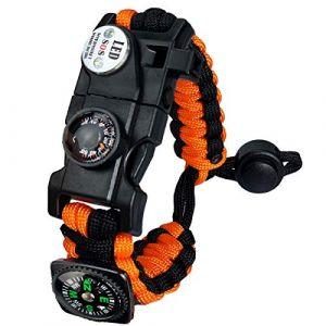 Bracelet Paracorde Survie pour Homme Femme, Militaire Paracord Bracelet Kit avec Flint + Boussole + Thermomètre + Sifflet + Lumière LED pour Extérieur, Randonneur, Baroudeur, Explorateurs (Orange) (BXooo, neuf)