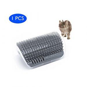 EASE Chats Brosse Peigne Fournitures pour animal domestique Coin Massage machine de massage d'angle pour animal domestique Chat Self tondeuse Peigne jouet pour chat avec herbe chat (Gris) (Tytop, neuf)