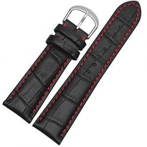 18mm 19mm 20mm 21mm 22mm 23mm 24mm Noir Bracelet de Montre en Cuir Véritable Bracelet Hommes avec Couture Rouge 22mm (cocolook, neuf)