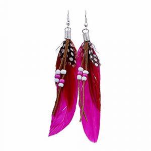 Style bohème perle gland plumes boucles d'oreilles mode plume chaîne balancent boucle d'oreille bijoux et montres boucles d'oreilles (FOOD HINK, neuf)
