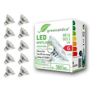 10x greenandco® IRC 90+ 4000K 36° Spot à LED GU5.3 MR16 6W équivalent 45W, 470lm blanc neutre SMD LED 12V AC/DC, verre, non graduable (greenandco-fr, neuf)