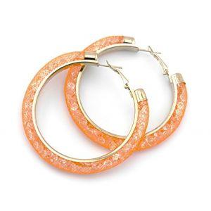 Mesh regarder boucles d'oreilles fantaisie boucles d'oreilles faites de tubes de filet de nylon rempli de cristaux colorés de différentes couleurs de la marque MyBeautyworld24 (orange) (MyBeautyworld24, neuf)
