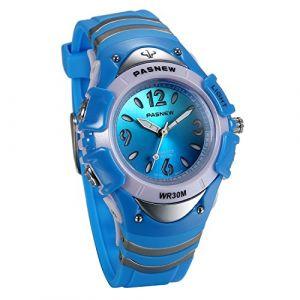 JewelryWe Montre Bracelet d'Enfant Quartz Sport Analogique-Digital Cadran Lumineuse Multi-Fonctionnel Bleu Bracelet Gel de Silice Alliage avec Boîte Montre (JewelryWe Bijoux, neuf)