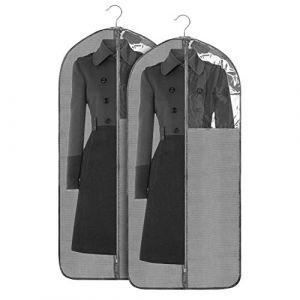 Jorlyen Housse de Vêtements Pliable Housse de Costume, 2 pcs Housse Protection pour Longue Robe, Vêtement, Manteaux avec Fenêtre Transparente et Anti-poussière Protection, 24 '' x 53 '' (60 x 135 cm) (Jorlyen_Tech, neuf)