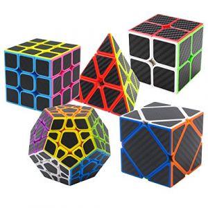 Speed Cube Ensemble Pyraminx + Megaminx + 2x2x2 + 3x3x3 + Skewb 5 Pack dans Boîte-Cadeau Coolzon® Nouveau Cubo Autocollant de Carbone Fibre Ultra Rapide (Easehome, neuf)