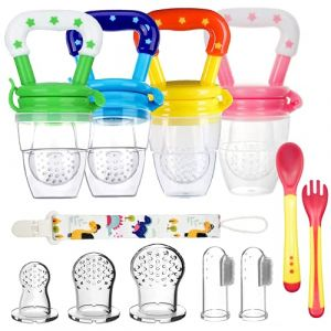 4pcs Sucettes de Fruits Bébés Tetine a Fruit BeBe Mangeoire pour Bébés de Fruits Sans BPA + 3 Tétines en Silicone en 3 Tailles + 2 Brosses à Doigts pour Bébé (HTstore EU, neuf)