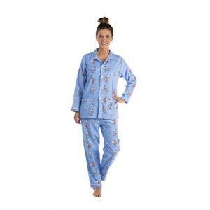 Jusqu'au lever du jour - Ensemble Pyjama Femme - Pilou Flanelle - Motif Humoristique (Vache Bleu, L) (Jusqu'au lever du jour, neuf)