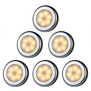 WRalwaysLX Lampe LED sans fil avec détecteur de mouvement pour placard, escalier, couloir, cuisine, chambre à coucher (6pcs) (coquille d'argent (lumière chaude)) (WRalwaysLX Light, neuf)