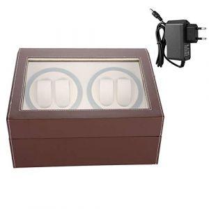 Remontoir de montre, remontoir de montre automatique avec boîte de présentation de montre en cuir PU à moteur super silencieux(marron) (Aufeeiu, neuf)