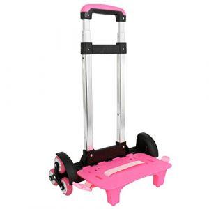 Chariot, Trolley pour Sac à Dos Chariot à roulettes Alliage d'aluminium Chariot Pliable pour Enfant(Rose, 6 Roues) (IvyH, neuf)