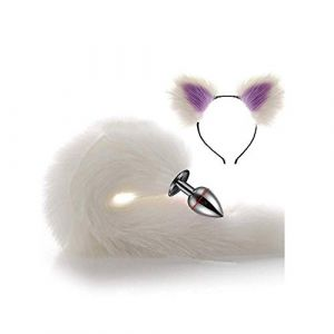 Serre-tête en fausse queue de renard et oreilles de chat Blanc 3 tailles (Pavian, neuf)