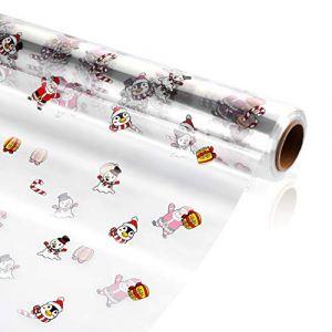 TOYANDONA Emballage en Cellophane Transparent Rouleau D'enveloppe en Cellophane de 3 Mil D'épaisseur Emballage Cadeau en Cellophane Décoré de Flocon de Neige pour Paniers-Cadeaux de Noël (Cheryla, neuf)