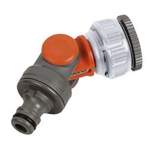 """Nez de robinet coudé et articulé - GARDENA: raccord coudé pour robinet de 26,5 mm (G 3/4"""") avec filetage 33,3 mm (G 1"""") & 21 mm (G 1/2"""") avec filetage 26,5 mm (G 3/4""""), pivotant et orientable, emballé (2999-20) (multitanks, neuf)"""