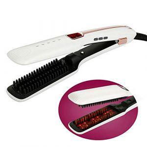 FELICIOO Peigne à cheveux à vapeur, fer à lisser et fer à friser, fer à friser en céramique à rayons infrarouges (Couleur : White) (zhongjimuyikejiyouxiangongsi, neuf)