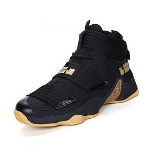 Mixte Adulte Sneaker Basketball Femme Homme Chaussure Scratch Entraînement Football Haute Résistant à l'usure Noir Jaune 40 (lanfengEU, neuf)