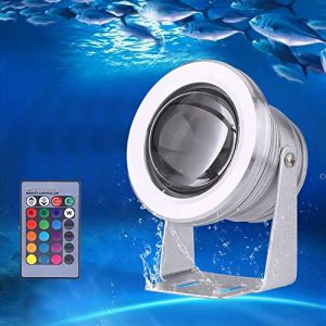 Projecteur Submersible à LED, Éclairage Sous-marin IP67 Étanche RGB, 10W Projecteur LED pour Éclairage Extérieur de Jardin avec Piscine à Fontaine ?Classe Énergétique A+? (Seinad, neuf)
