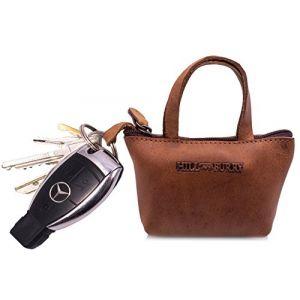Hill Burry en cuir véritable Porte-Clés | Porte-clés avec porte-clés | Key Case - Petit Portefeuille | Cas de carte de crédit - Portefeuille Porte Carte Crédit En Cuir De Vachette | (Marron) (BelleBay, neuf)
