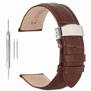 22mm Montre Bracelet Bracelet en Cuir Boucle déployante Papillon Rapide pour Les Hommes (Autulet Europe, neuf)