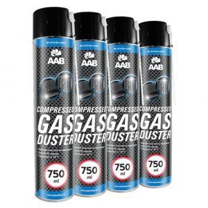 4 x AAB Bombe Air Sec 750ml | Bouteille Air Comprimé | Nettoyage des Ordinateurs | Dépoussiérant en Spray | Enlever la Poussière | Sans Odeur Aérosol | Computer Cleaner | Informatique Matériel (AAB Seller, neuf)