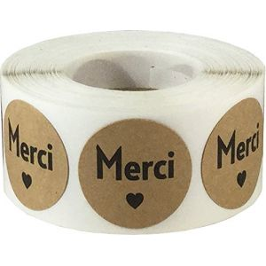 Kraft Marron Cercle avec Noir Merci Autocollants, 25 mm 1 Pouce Rond, 500 Étiquettes sur un Rouleau (InStockLabels, neuf)