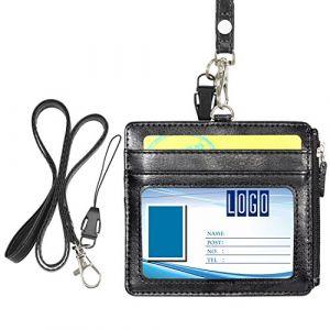 Wisdompro® Porte-badge horizontal en similicuir avec 1fenêtre pour carte d'identité, 4fentes pour cartes, 1poche zippée sur le côté et 1lanière tour de cou de 48cm Noir (Wisdompro UK, neuf)