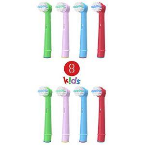 Brossettes - Kids EB-10A - Têtes de Remplacement Brosses à Dent Electrique Compatible pour Braun Oral B (Pack 8) (Candore, neuf)