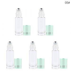 Guoyihua Lot de 5 flacons d'huile essentielle avec perles en acier inoxydable 5 ml (YIHUA, neuf)