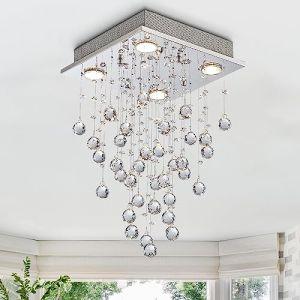 Cristal moderne gouttes de pluie gouttelettes d'éclairage encastré montage LED plafonnier luminaire suspension pour salle à manger salle de bains chambre à coucher salon 4 ampoules GU10 LED requis (Annaka Lighting UK, neuf)