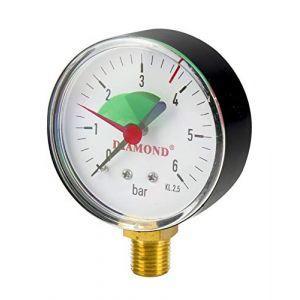 Manomètre de pression vertical hydraulique 50 mm 6 bar 1/4 (Diamond BFG Ltd, neuf)