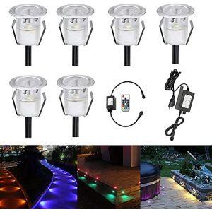 6 LED Spot Encastrable Extérieur - Mini spot encastré de Ø30mm Eclairage Encastrables Extérieur pour Terrasse Enterre, IP67 Etanche DC12V Lumière Moderne pour Chemin RGB (CHENXU, neuf)