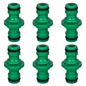 Hotop 6 Pièces Double Connecteur de Tuyaux Mâles Raccords de Tuyaux pour Rejoignez Le Tube de Tuyaux de Jardin (Vert) (ZHANMAI FR, neuf)